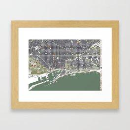 Barcelona city map engraving Framed Art Print