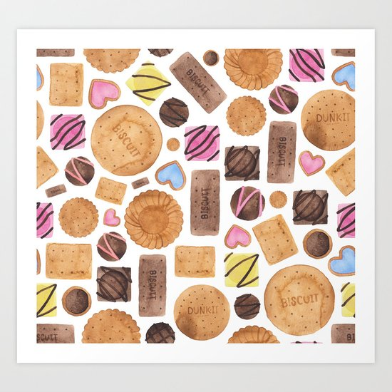 Selection of Sweets, Candy, Cakes and Biscuits Art Print