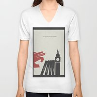 vendetta V-neck T-shirts featuring V for Vendetta, Alternative Movie Poster by Stefanoreves