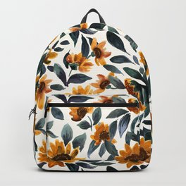 Sunset Sunflowers - Teal Leaves Backpack