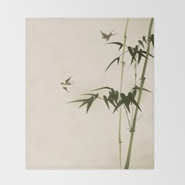 Oriental style bamboo branches 001 Throw Blanket