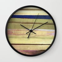 striped Wall Clocks featuring striped by Iris Lehnhardt