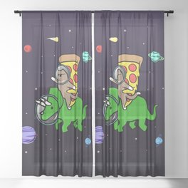 Cat And Pizza Riding Triceratops In Space Sheer Curtain
