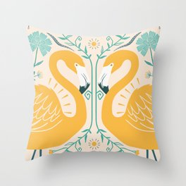 Yellow simetric Throw Pillow