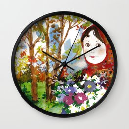 Portrait of a Girl with a Flower Bouquet Wall Clock