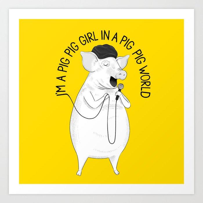 Pig singing Emilia | Animal Karaoke | Illustration Art Print