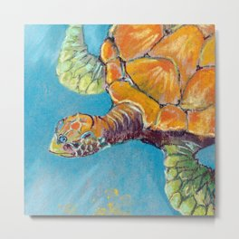 Water turtle in the ocean. pastel. Metal Print