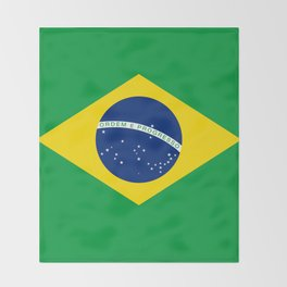 Brazilian National flag Authentic version (color & scale) Throw Blanket
