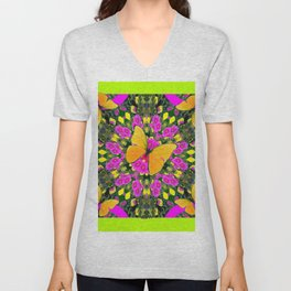 Modern Yellow Butterfly Chartreuse-Green Pattern Pink Art Unisex V-Neck