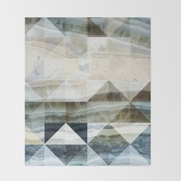 Geo Marble - Natural and Blue #buyart #marble Throw Blanket