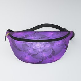 Purple Dew Drops | Abstract digital flower Fanny Pack