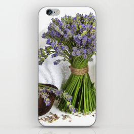 lavender spa (fresh lavender flowers, towel, essential oil, pebbles, Herbal massage balls) over whit iPhone Skin
