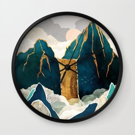 Golden Waterfall Wall Clock