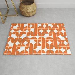 Mid Century Modern Geometric Pattern Orange Rug