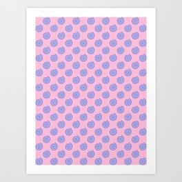 Brandeis Blue on Cotton Candy Pink Spirals Art Print