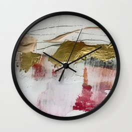 Untranslated Stars: a minimal, abstract piece in gold, pink, and white by Alyssa Hamilton Art Wall Clock