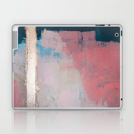 Morning Light: a minimal abstract mixed-media piece in pink gold and blue by Alyssa Hamilton Art Laptop & iPad Skin