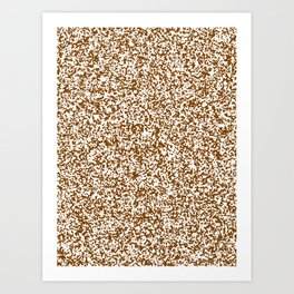 Tiny Spots - White and Chocolate Brown Art Print