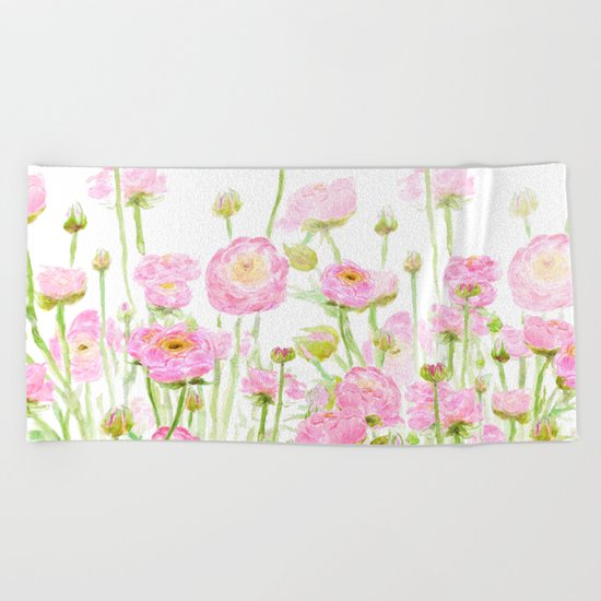 pink buttercup ranunculus field watercolor Beach Towel