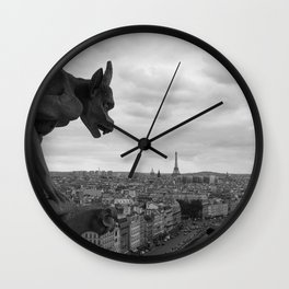 View on the Eiffel Tower b/w Wall Clock