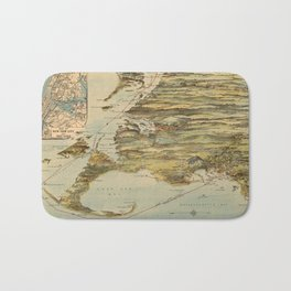 Vintage Cape Cod and NYC Steamboat Route Map Bath Mat