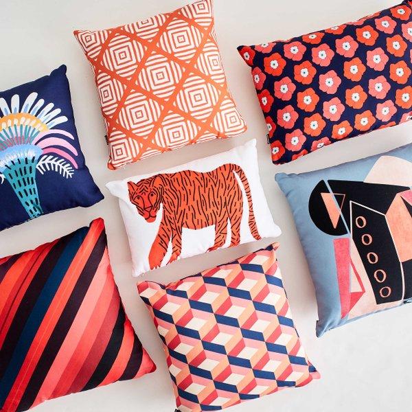 blue and orange throw pillows
