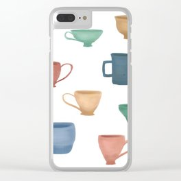 Colorful Tea Cups and Coffee Mugs Clear iPhone Case