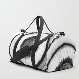 White Agate with Silver Glitter Glam #1 #gem #decor #art #society6 Duffle Bag