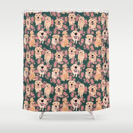 Golden Retriever and flowers on green Shower Curtain