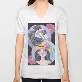 Girl with her Horse Unisex V-Neck