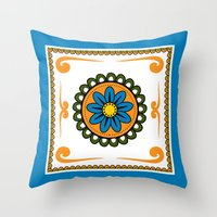 mexican Throw Pillows featuring Mexican  by Petya Hadjieva (ragerabbit)