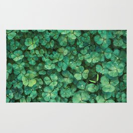 Lucky Green Clovers, St Patricks Day pattern Rug