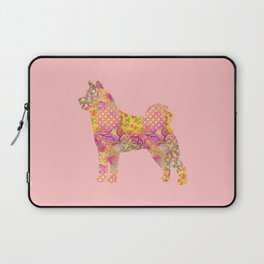 Akita Inu Dog Colorful Pink Yellow Pastel Pretty Floral Pattern Laptop Sleeve