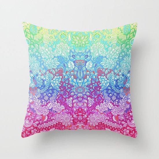 Fantasy Garden Rainbow Doodle Throw Pillow