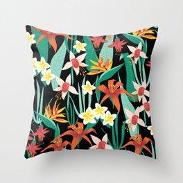Tropical Flowers Black Throw Pillow