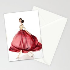Red Fashion Watercolor Model Stationery Cards