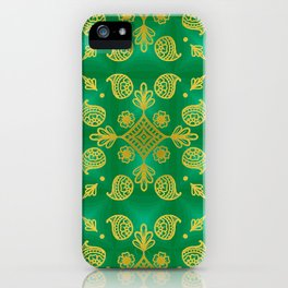 Gold design on green background iPhone Case