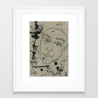 hunter s thompson Framed Art Prints featuring Hunter S Thompson by Nicostman