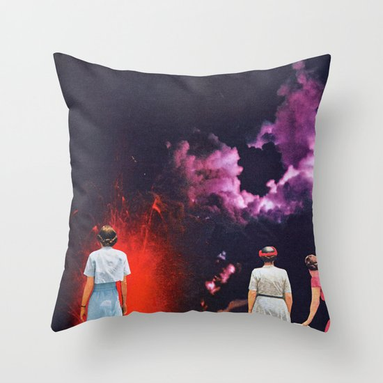VOLCANO AT NIGHT Throw Pillow
