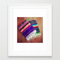 blankets Framed Art Prints featuring mexican blankets by bailybelle