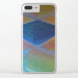 Blue Diamond Squared Clear iPhone Case