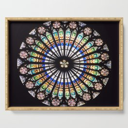 Stained glass cathedral rosette Serving Tray