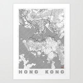Hong Kong Map Line Art Print