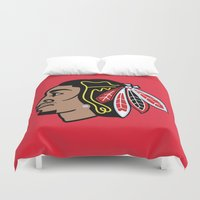 blackhawks Duvet Covers featuring Blackhawks Inspired D Rose by beejammerican