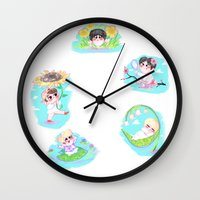 shinee Wall Clocks featuring SHINee Flowers by sophillustration