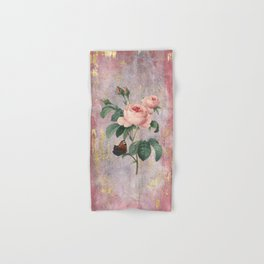 Vintage & Shabby Chic - Rose on pink grunge background  - Roses and flowers garden Hand & Bath Towel