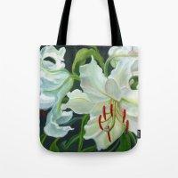 casablanca Tote Bags featuring Casablanca Lillies by Ellen Sullivan Farley