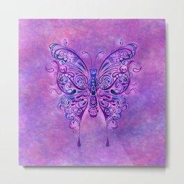 Butterfly In Purple Metal Print