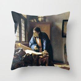 Johannes Vermeer The Geographer Throw Pillow
