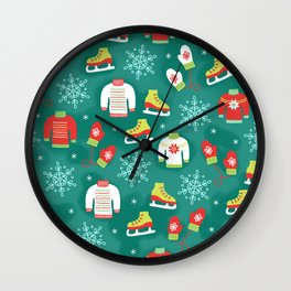 Christmas Sweaters, Ice Skates and Mittens Pattern Wall Clock